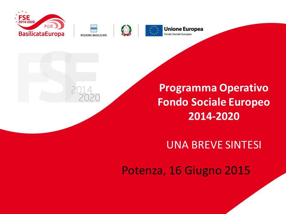 Programma Operativo Fondo Sociale Europeo 2014-2020 UNA BREVE SINTESI Potenza, 16 Giugno 2015