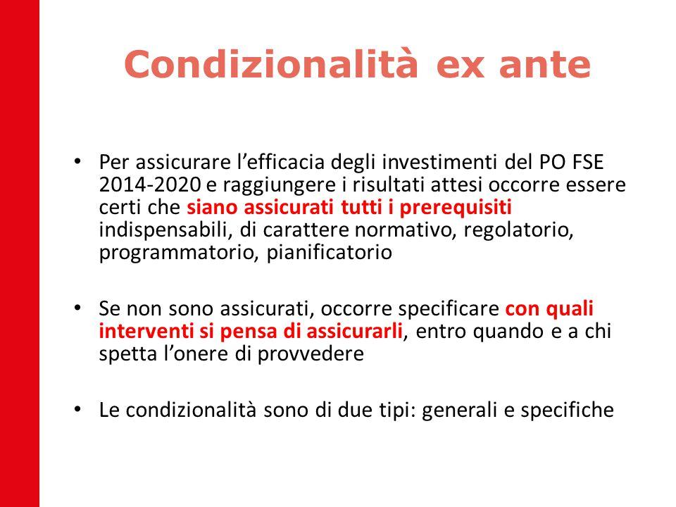 Condizionalità ex ante Per assicurare l'efficacia degli investimenti del PO FSE 2014-2020 e raggiungere i risultati attesi occorre essere certi che si