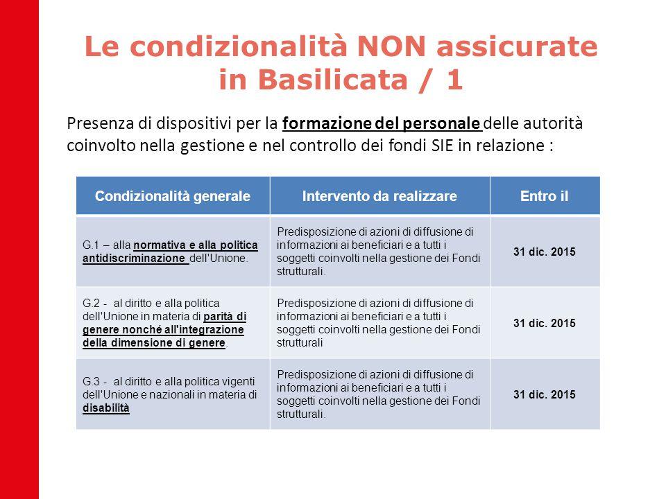 Le condizionalità NON assicurate in Basilicata / 1 Presenza di dispositivi per la formazione del personale delle autorità coinvolto nella gestione e n