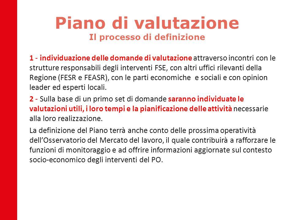 Piano di valutazione Il processo di definizione 1 - individuazione delle domande di valutazione attraverso incontri con le strutture responsabili degl