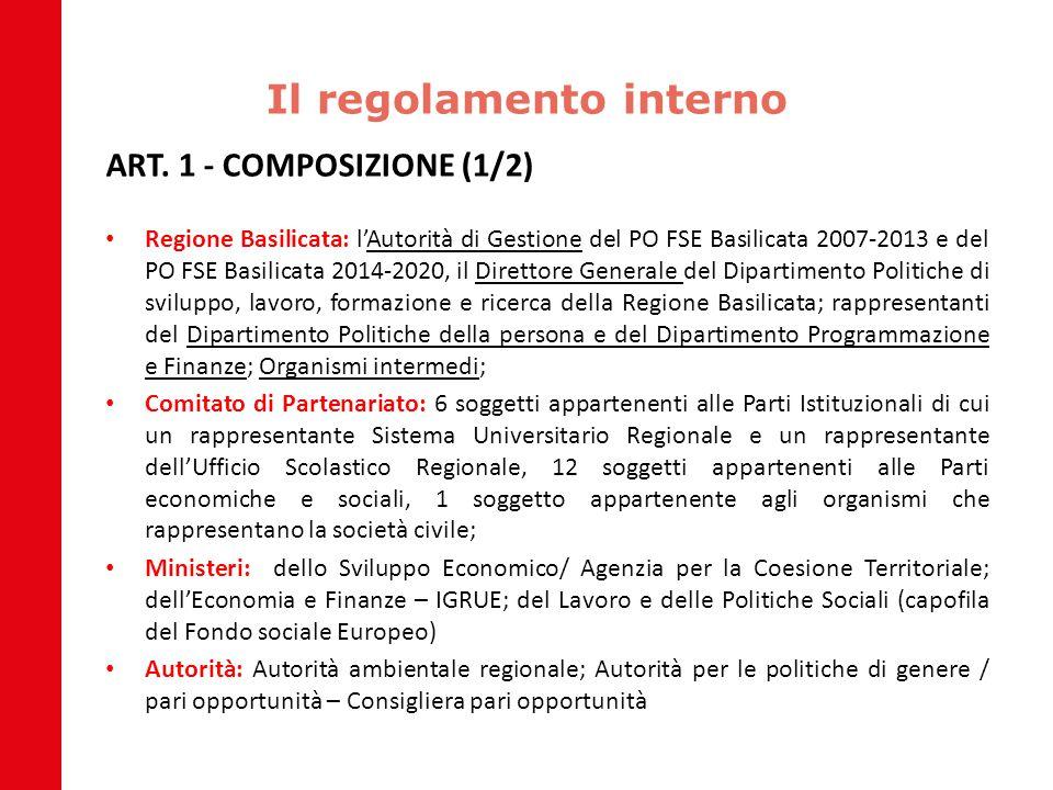 Il regolamento interno ART. 1 - COMPOSIZIONE (1/2) Regione Basilicata: l'Autorità di Gestione del PO FSE Basilicata 2007-2013 e del PO FSE Basilicata