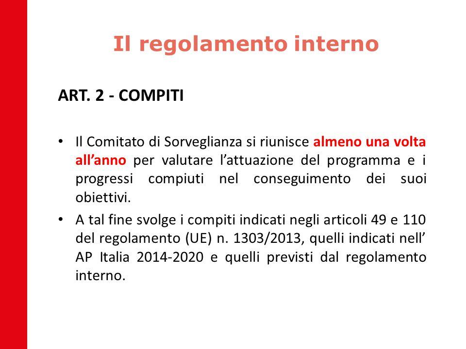 Il regolamento interno ART. 2 - COMPITI Il Comitato di Sorveglianza si riunisce almeno una volta all'anno per valutare l'attuazione del programma e i
