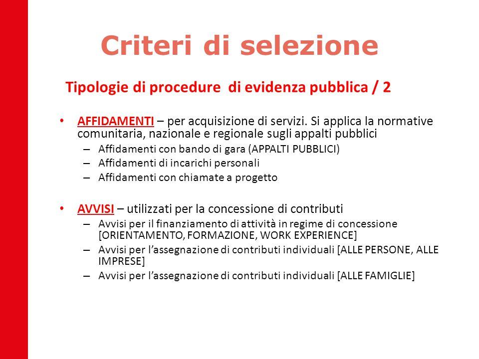 Criteri di selezione Tipologie di procedure di evidenza pubblica / 2 AFFIDAMENTI – per acquisizione di servizi. Si applica la normative comunitaria, n