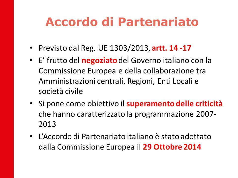 Accordo di Partenariato Previsto dal Reg. UE 1303/2013, artt. 14 -17 E' frutto del negoziato del Governo italiano con la Commissione Europea e della c