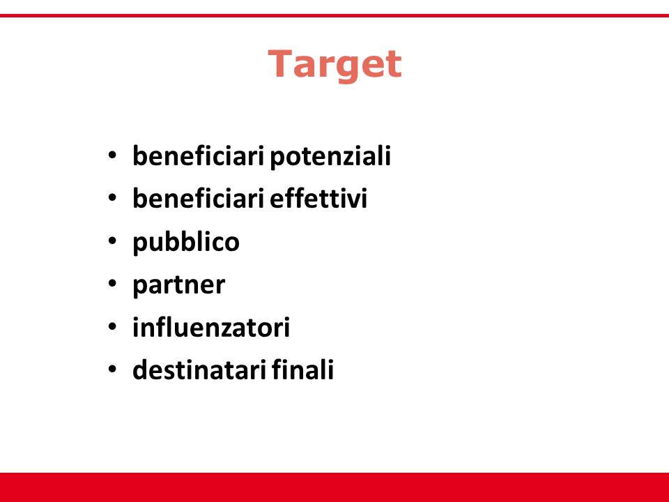 Target beneficiari potenziali beneficiari effettivi pubblico partner influenzatori destinatari finali