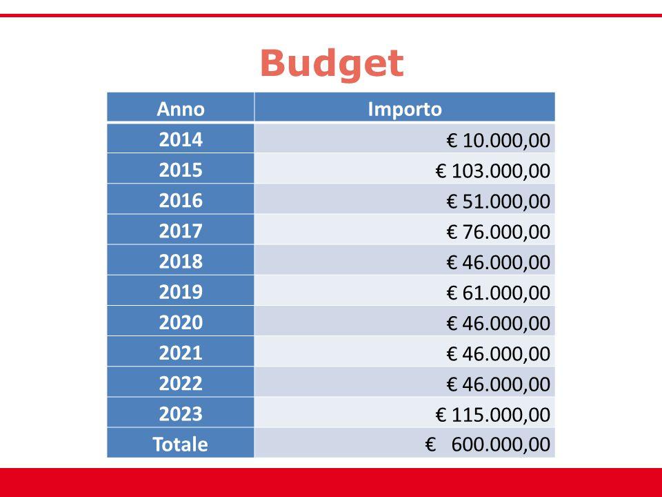 Budget AnnoImporto 2014 € 10.000,00 2015 € 103.000,00 2016 € 51.000,00 2017 € 76.000,00 2018 € 46.000,00 2019 € 61.000,00 2020 € 46.000,00 2021 € 46.0