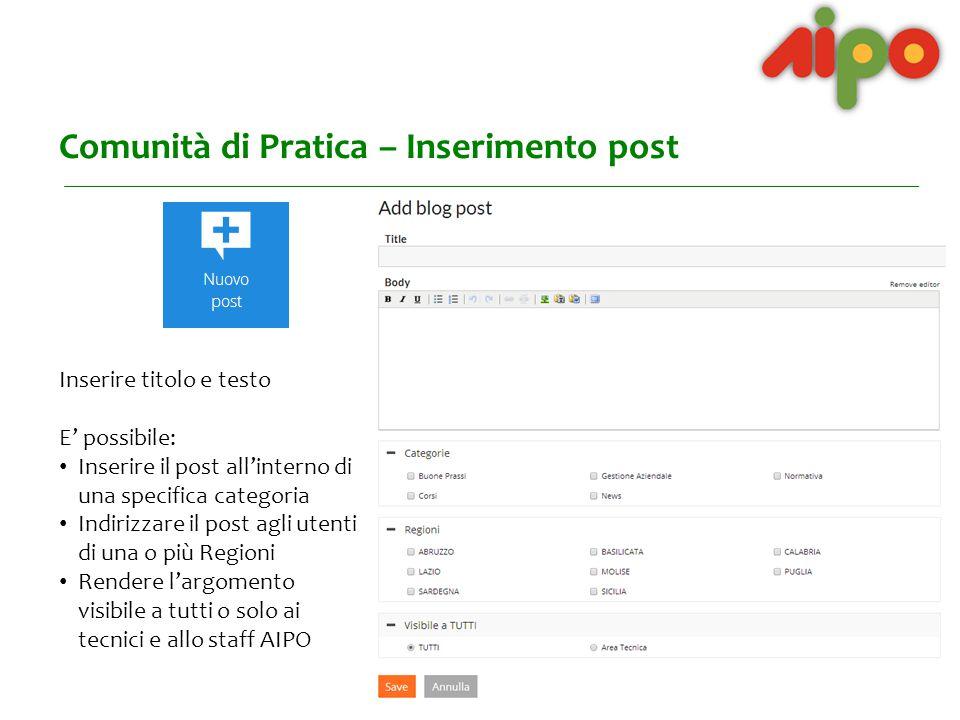 Comunità di Pratica – Attività recenti Nelle Attività recenti si trova l'elenco degli ultimi post pubblicati.