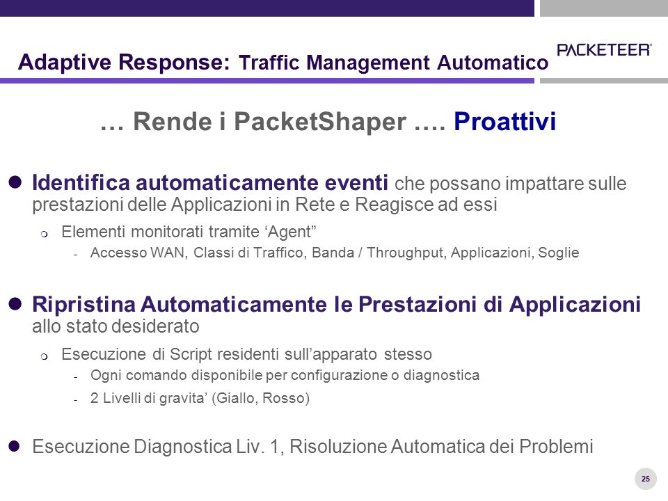 25 Adaptive Response: Traffic Management Automatico … Rende i PacketShaper …. Proattivi Identifica automaticamente eventi che possano impattare sulle