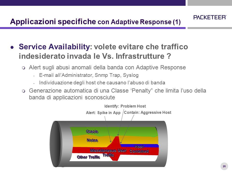 26 Applicazioni specifiche con Adaptive Response (1) Service Availability: volete evitare che traffico indesiderato invada le Vs.