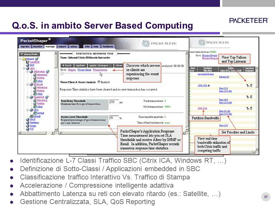 37 Q.o.S. in ambito Server Based Computing Identificazione L-7 Classi Traffico SBC (Citrix ICA, Windows RT, …) Definizione di Sotto-Classi / Applicazi