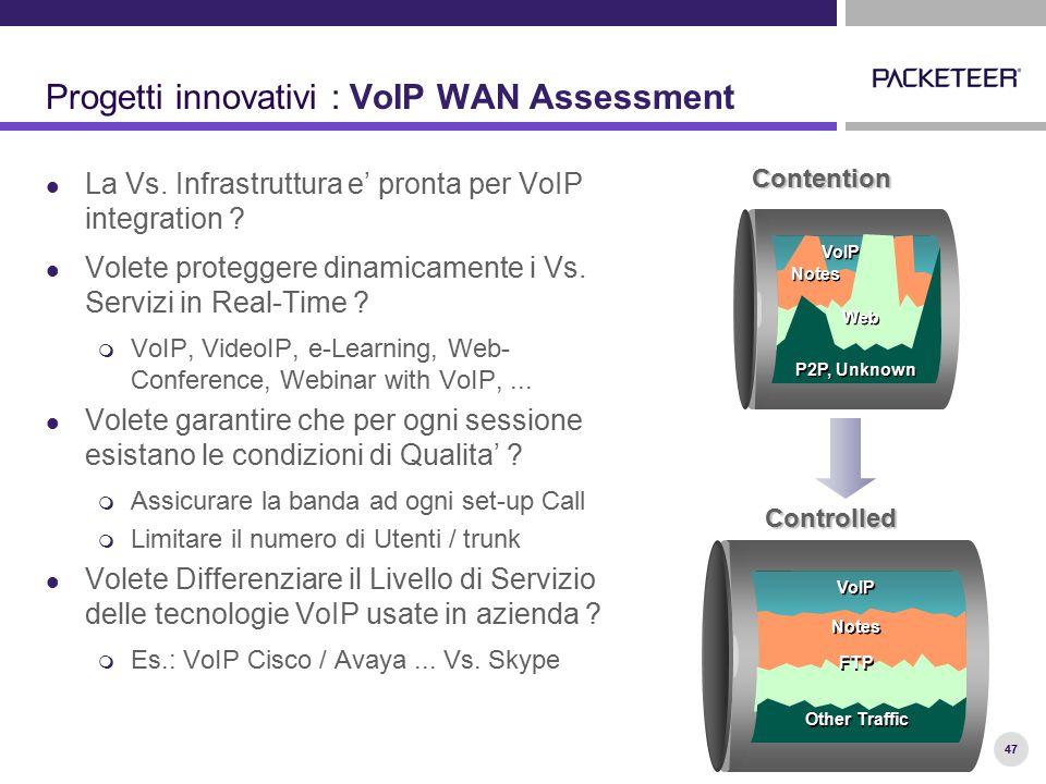 47 Progetti innovativi : VoIP WAN Assessment La Vs. Infrastruttura e' pronta per VoIP integration ? Volete proteggere dinamicamente i Vs. Servizi in R