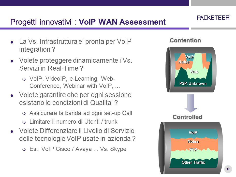 47 Progetti innovativi : VoIP WAN Assessment La Vs.