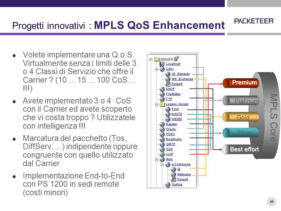 48 Progetti innovativi : MPLS QoS Enhancement Volete implementare una Q.o.S. Virtualmente senza i limiti delle 3 o 4 Classi di Servizio che offre il C