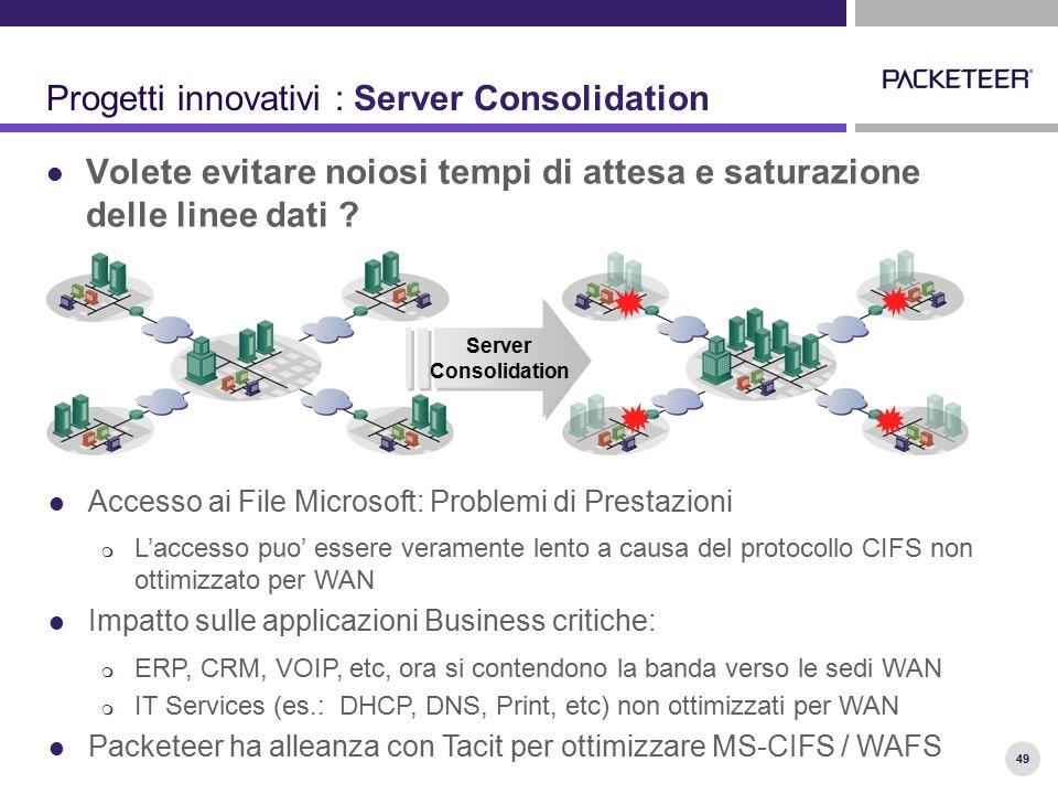49 Progetti innovativi : Server Consolidation Volete evitare noiosi tempi di attesa e saturazione delle linee dati ? Server Consolidation Server Conso