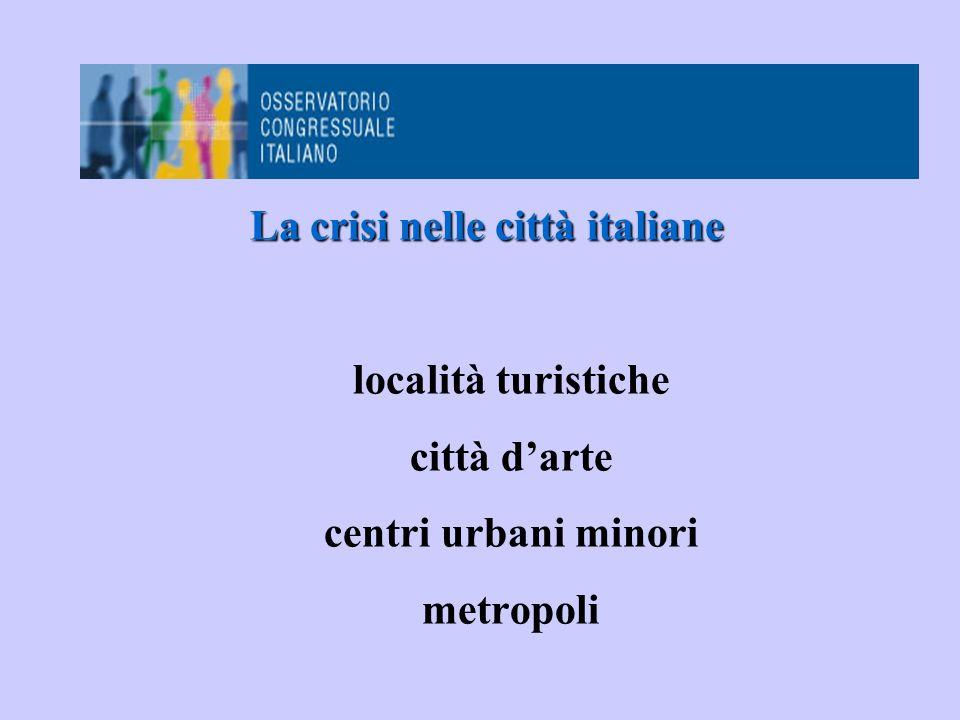 La crisi nelle città italiane località turistiche città d'arte centri urbani minori metropoli