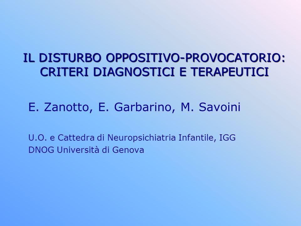 IL DISTURBO OPPOSITIVO-PROVOCATORIO: CRITERI DIAGNOSTICI E TERAPEUTICI E. Zanotto, E. Garbarino, M. Savoini U.O. e Cattedra di Neuropsichiatria Infant