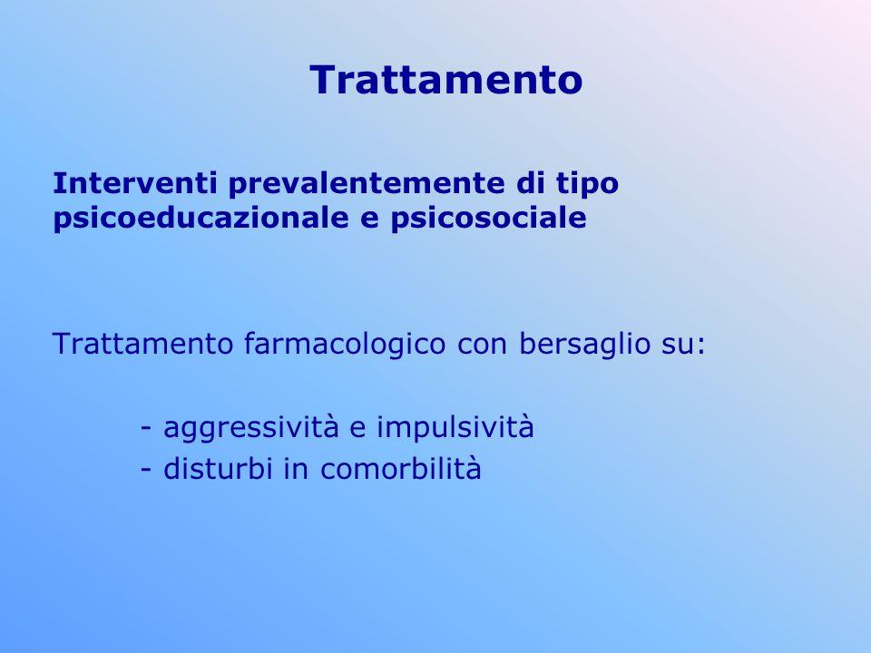Trattamento Interventi prevalentemente di tipo psicoeducazionale e psicosociale Trattamento farmacologico con bersaglio su: - aggressività e impulsivi