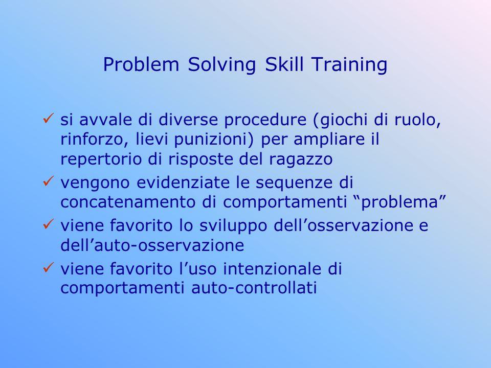 Problem Solving Skill Training si avvale di diverse procedure (giochi di ruolo, rinforzo, lievi punizioni) per ampliare il repertorio di risposte del