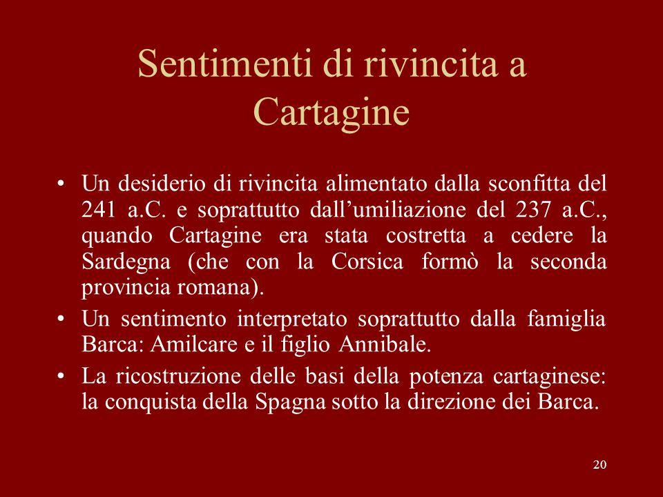 20 Sentimenti di rivincita a Cartagine Un desiderio di rivincita alimentato dalla sconfitta del 241 a.C. e soprattutto dall'umiliazione del 237 a.C.,