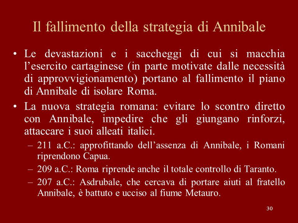 30 Il fallimento della strategia di Annibale Le devastazioni e i saccheggi di cui si macchia l'esercito cartaginese (in parte motivate dalle necessità