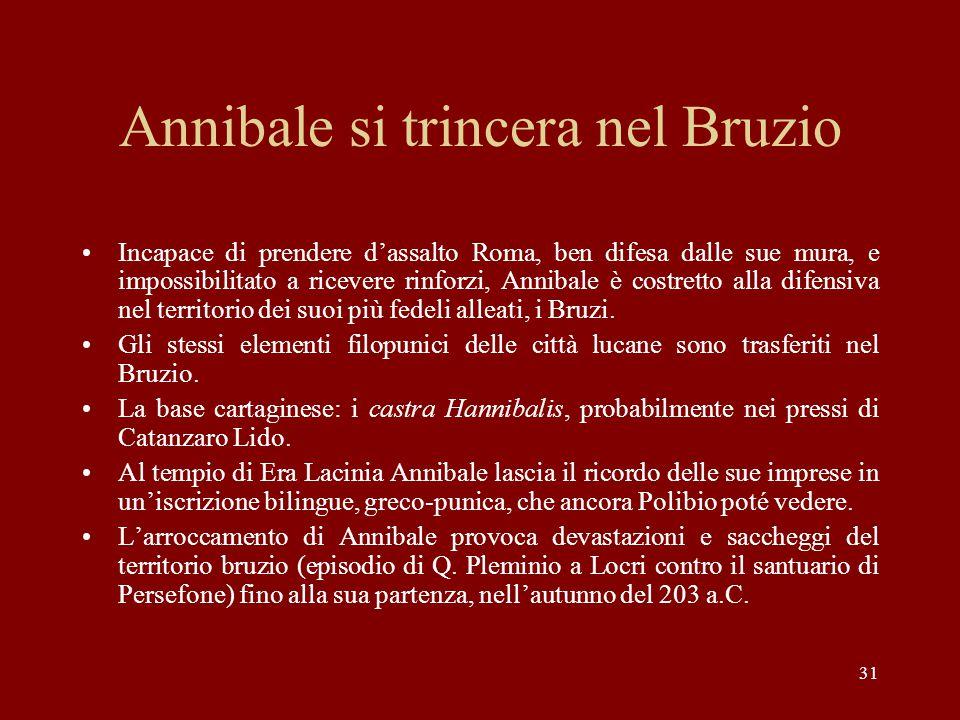 31 Annibale si trincera nel Bruzio Incapace di prendere d'assalto Roma, ben difesa dalle sue mura, e impossibilitato a ricevere rinforzi, Annibale è c