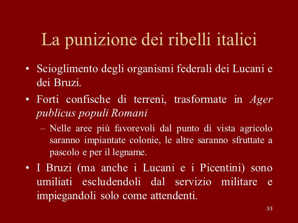 33 La punizione dei ribelli italici Scioglimento degli organismi federali dei Lucani e dei Bruzi. Forti confische di terreni, trasformate in Ager publ