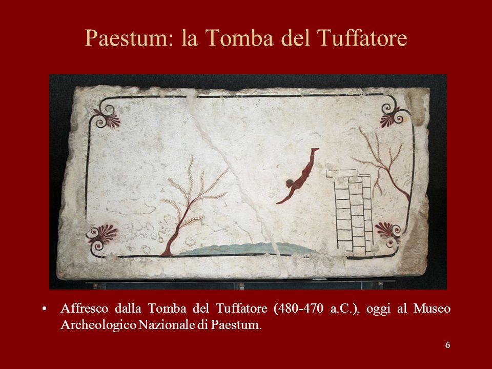 6 Paestum: la Tomba del Tuffatore Affresco dalla Tomba del Tuffatore (480-470 a.C.), oggi al Museo Archeologico Nazionale di Paestum.