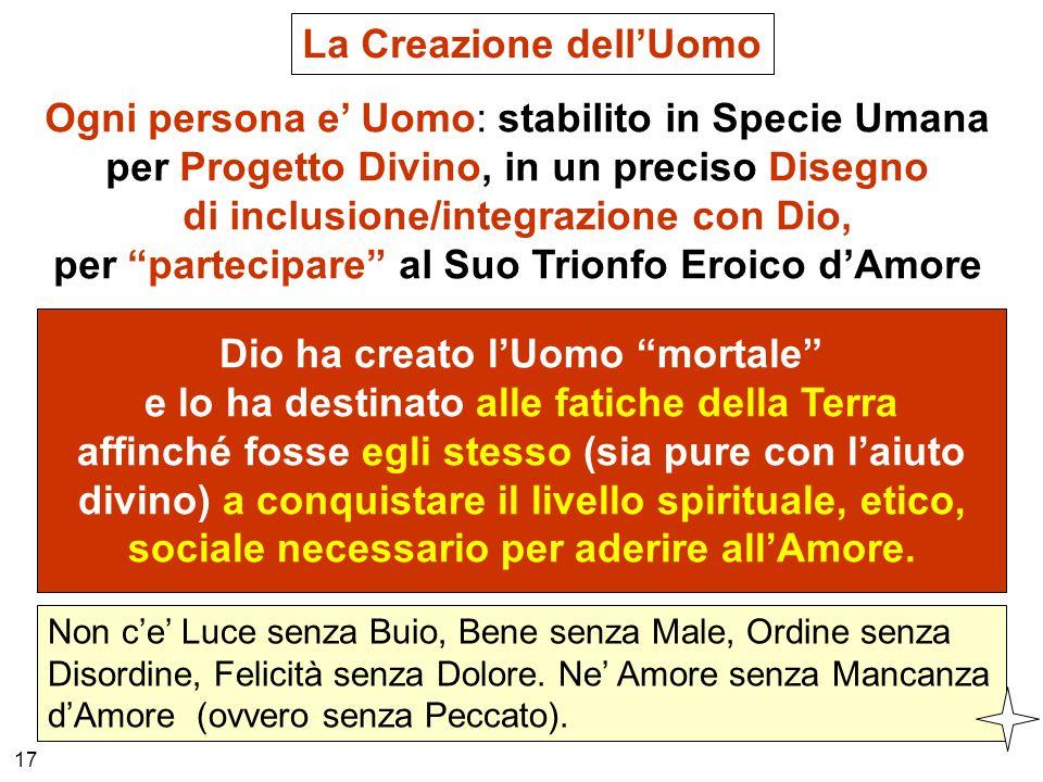 La Creazione dell'Uomo Ogni persona e' Uomo: stabilito in Specie Umana per Progetto Divino, in un preciso Disegno di inclusione/integrazione con Dio,