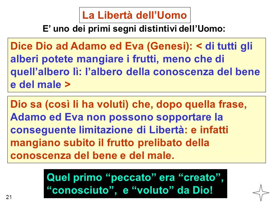 """La Libertà dell'Uomo E' uno dei primi segni distintivi dell'Uomo: Dice Dio ad Adamo ed Eva (Genesi): Quel primo """"peccato"""" era """"creato"""", """"conosciuto"""","""