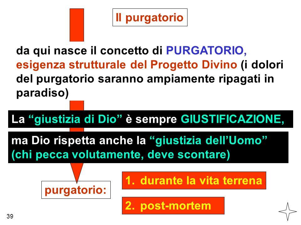 da qui nasce il concetto di PURGATORIO, esigenza strutturale del Progetto Divino (i dolori del purgatorio saranno ampiamente ripagati in paradiso) Il