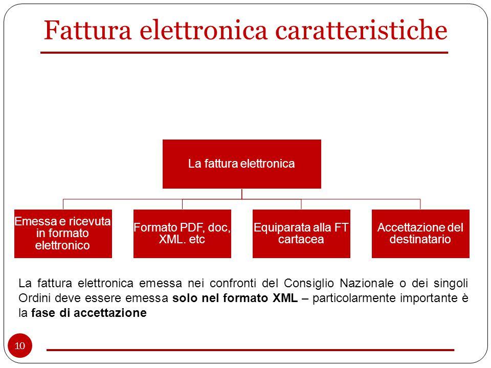 Fattura elettronica caratteristiche La fattura elettronica Emessa e ricevuta in formato elettronico Formato PDF, doc, XML.