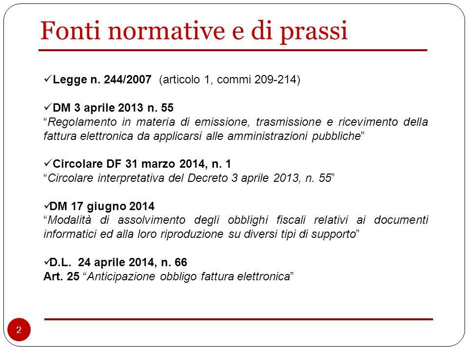 Fonti normative e di prassi Legge n. 244/2007 (articolo 1, commi 209-214) DM 3 aprile 2013 n.
