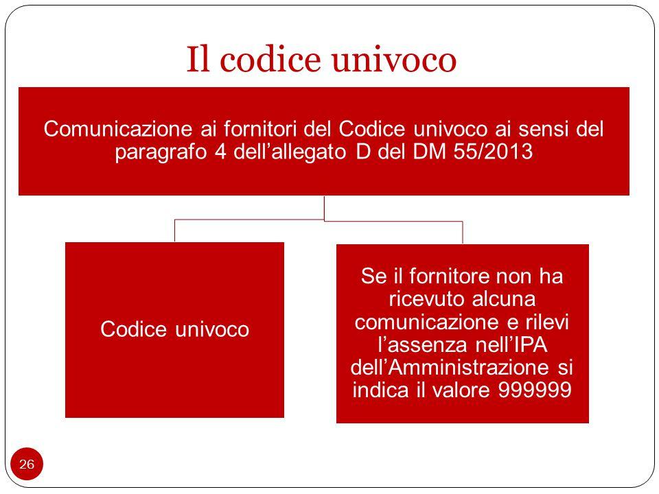 26 Il codice univoco Comunicazione ai fornitori del Codice univoco ai sensi del paragrafo 4 dell'allegato D del DM 55/2013 Codice univoco Se il fornitore non ha ricevuto alcuna comunicazione e rilevi l'assenza nell'IPA dell'Amministrazione si indica il valore 999999