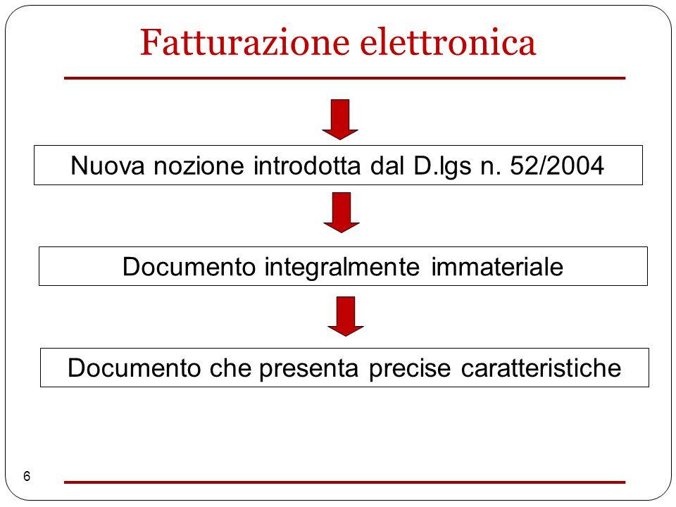 6 Nuova nozione introdotta dal D.lgs n. 52/2004 Documento integralmente immateriale Documento che presenta precise caratteristiche Fatturazione elettr