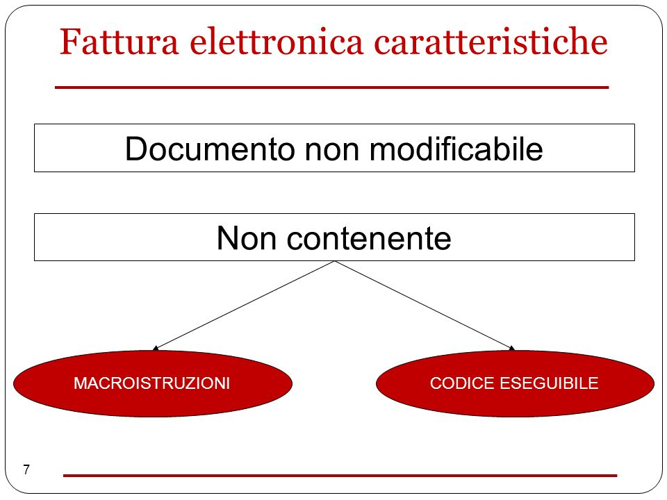 7 Documento non modificabile Non contenente MACROISTRUZIONICODICE ESEGUIBILE Fattura elettronica caratteristiche