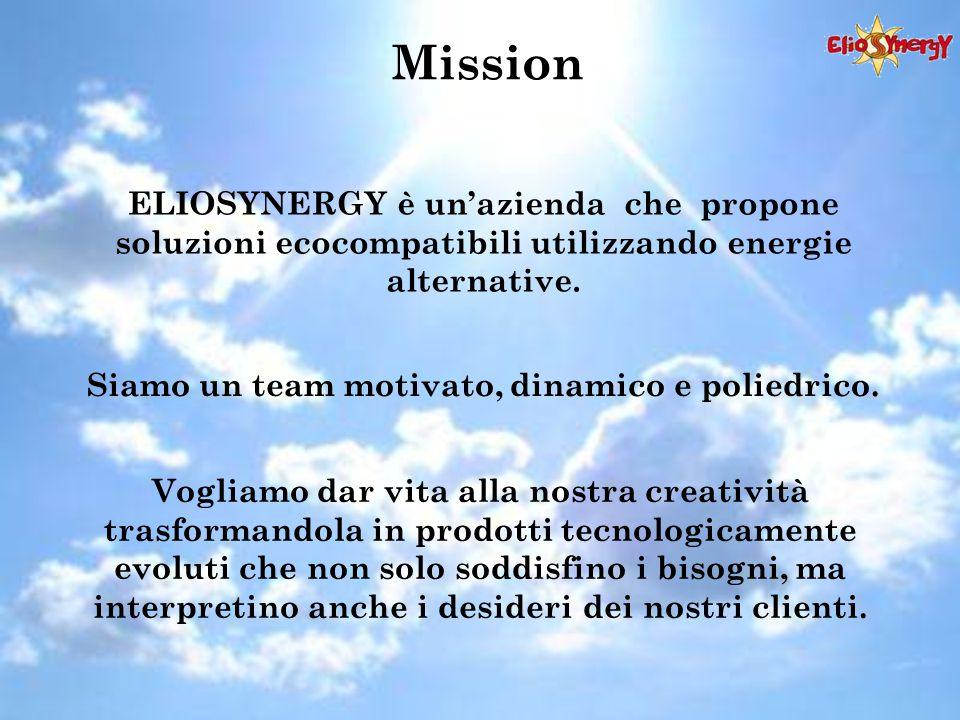 Mission ELIOSYNERGY è un'azienda che propone soluzioni ecocompatibili utilizzando energie alternative. Vogliamo dar vita alla nostra creatività trasfo