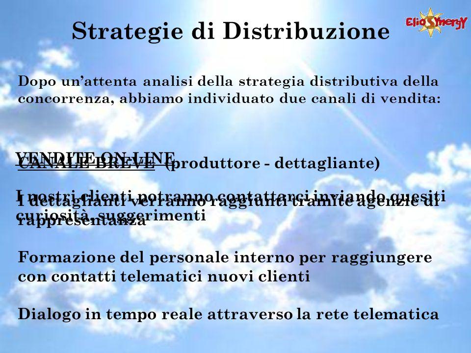 Strategie di Distribuzione Dopo un'attenta analisi della strategia distributiva della concorrenza, abbiamo individuato due canali di vendita: CANALE B