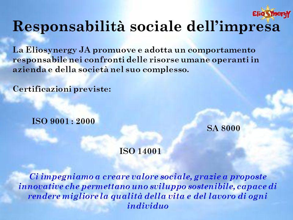 Responsabilità sociale dell'impresa La Eliosynergy JA promuove e adotta un comportamento responsabile nei confronti delle risorse umane operanti in azienda e della società nel suo complesso.