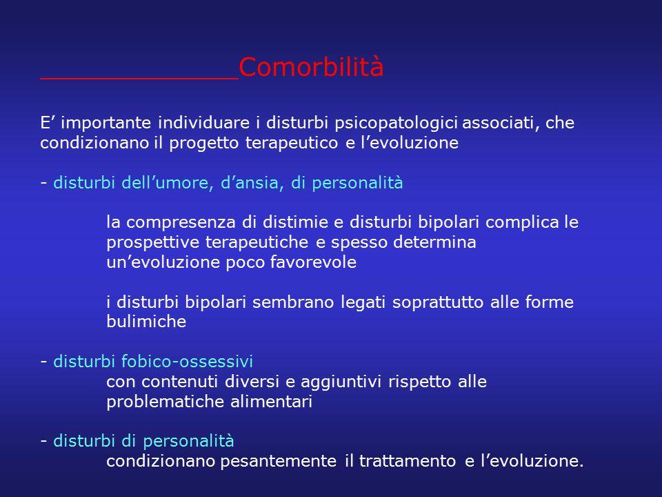 Comorbilità E' importante individuare i disturbi psicopatologici associati, che condizionano il progetto terapeutico e l'evoluzione - disturbi dell'um