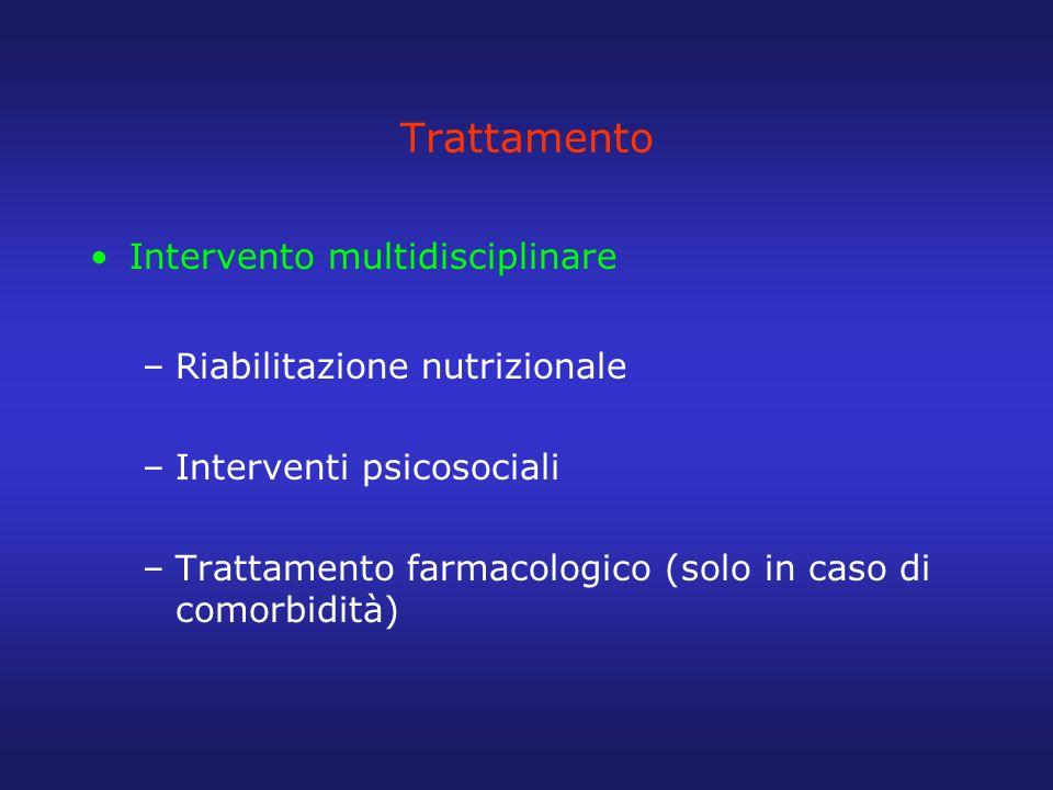 Trattamento Intervento multidisciplinare –Riabilitazione nutrizionale –Interventi psicosociali –Trattamento farmacologico (solo in caso di comorbidità