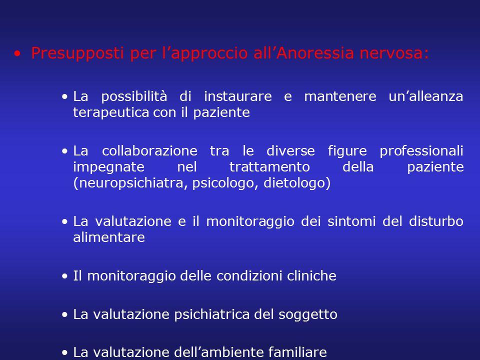 Presupposti per l'approccio all'Anoressia nervosa: La possibilità di instaurare e mantenere un'alleanza terapeutica con il paziente La collaborazione