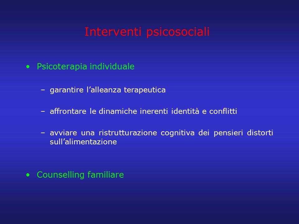 Interventi psicosociali Psicoterapia individuale –garantire l'alleanza terapeutica –affrontare le dinamiche inerenti identità e conflitti –avviare una