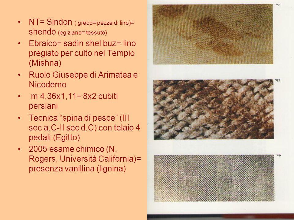 NT= Sindon ( greco= pezze di lino)= shendo (egiziano= tessuto) Ebraico= sadìn shel buz= lino pregiato per culto nel Tempio (Mishna) Ruolo Giuseppe di