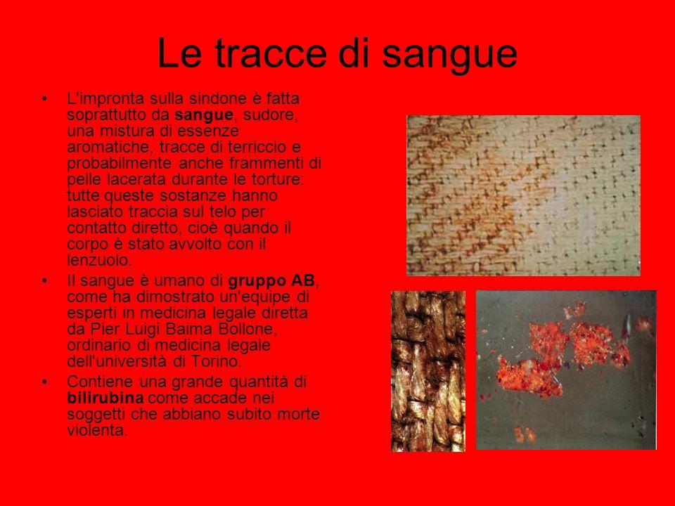 Le tracce di sangue L'impronta sulla sindone è fatta soprattutto da sangue, sudore, una mistura di essenze aromatiche, tracce di terriccio e probabilm