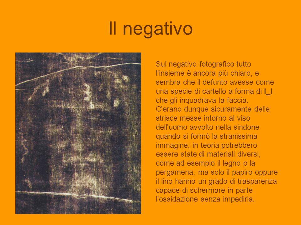 Il negativo Sul negativo fotografico tutto l'insieme è ancora più chiaro, e sembra che il defunto avesse come una specie di cartello a forma di I_I ch