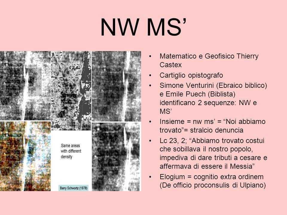 NW MS' Matematico e Geofisico Thierry Castex Cartiglio opistografo Simone Venturini (Ebraico biblico) e Emile Puech (Biblista) identificano 2 sequenze