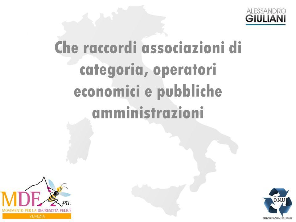 Che raccordi associazioni di categoria, operatori economici e pubbliche amministrazioni
