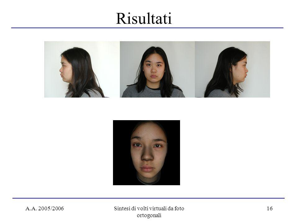 A.A. 2005/2006Sintesi di volti virtuali da foto ortogonali 16 Risultati