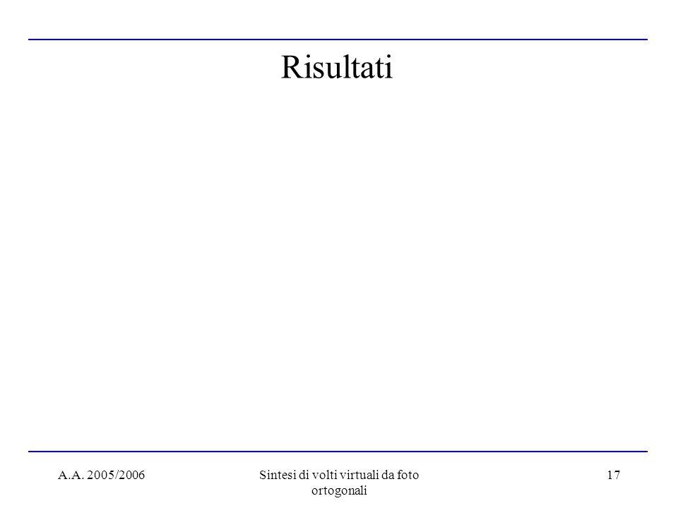 A.A. 2005/2006Sintesi di volti virtuali da foto ortogonali 17 Risultati