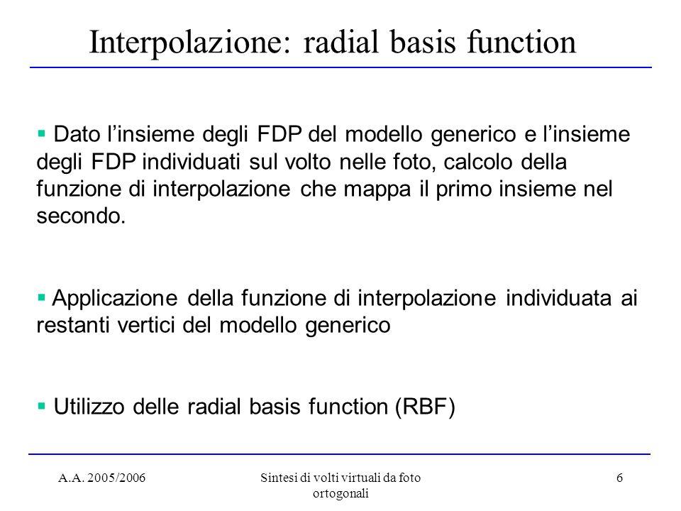A.A. 2005/2006Sintesi di volti virtuali da foto ortogonali 6 Interpolazione: radial basis function  Dato l'insieme degli FDP del modello generico e l